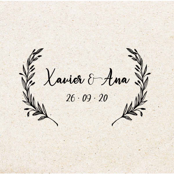 "Sello para Boda Personalizado ""Laurel"""