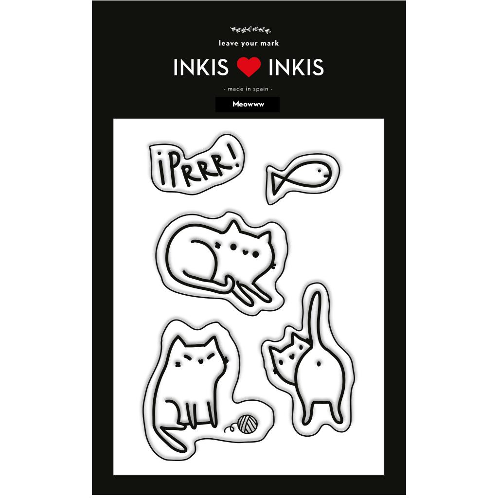 Set Inkis 5 sellos Scrapbooking - Meow I